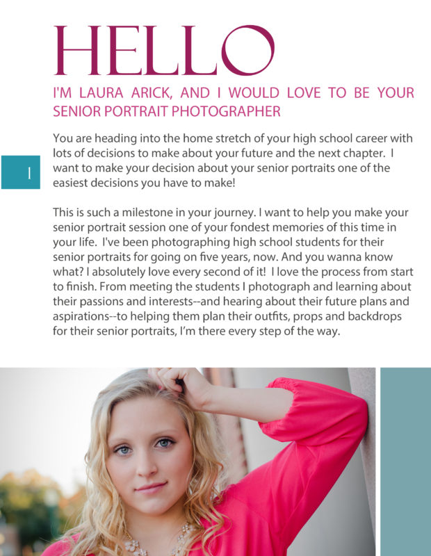 Senior Pictures Style Guide Page 1