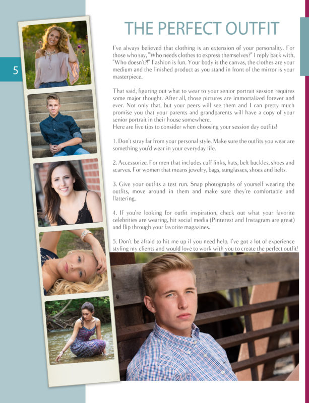 Senior Pictures Style Guide Page 5
